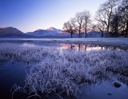 Frost on Derwent Water, Lake District National Park, Cumbria, England